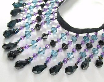 Night Skies 3.5 inch Medium Beaded Fringe Trim in Black Turquoise and Purple for Craft or Home  Decorator Beaded Trim