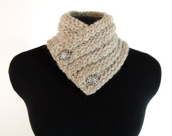 Hand Knit Neck-warmer in Continental Rib Color Sand - Item 1299