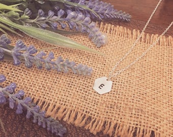 Silver Plated 12mm Geometric / Hexagon Disc Handstamped Initial Necklace