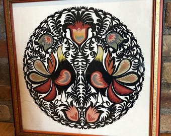Vintage framed wycinanki Lowicz Polish paper layer cutout art w roosters
