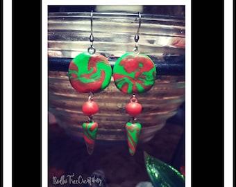 Polymer clay earrings dangly