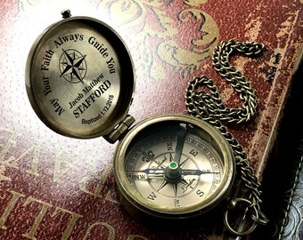 Baptism Gift, Engraved Compass, Boy Dedication Gift, Confirmation Gift, Personalized Compass, Monogrammed Compass, Anniversary Gift, Veteran
