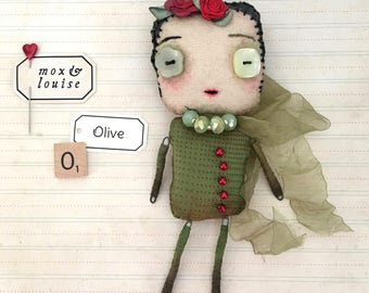 OOAK Art Doll : handcrafted doll from fabric and wire. Olive is a cute whimsical doll, a quirky collectible art toy with lots of charm