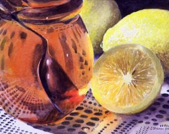 Still Life Painting - Limited Edition Giclee Print - Watercolor - Honey - Lemon - Kitchen Decor - Fruit Still Life - Wall Art - Ying & Yang