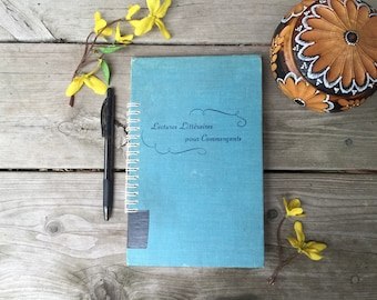 Vintage Homemade Upcycled Notebook, Sketchbook, Journal, Lectures Litteraires pour Commencants, published 1950