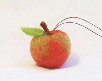 Christmas Ornament -  Miniature Fruit Ornament - Red Apple - Needlefelt Fruit - Christmas Gift - Holiday Decoration - Felt Christmas