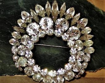 Sherman Clear Rhinestone Wreath Brooch Vintage 1960s Round and Baguette Shaped Rhinestones Bridal Brooch