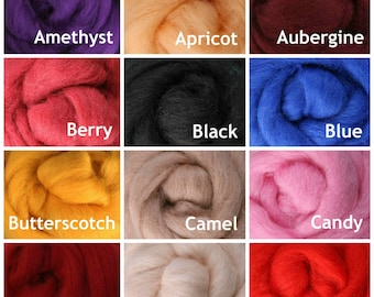 4 oz. Wool Roving, New Zealand Corriedale - Choose from 60 Colors! Spinning Fiber.  Felting Fiber. Dyed Primary, Bright and Skin Tone Color