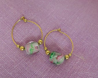 Gold Tone Hoop Earrings with Glass Bead