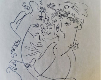 Chagall signed drawing, one of a pair, original pencil drawing