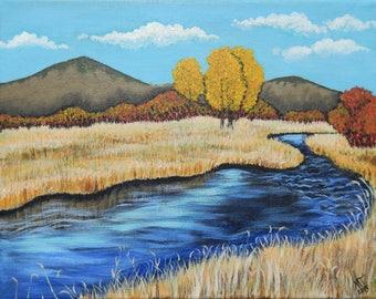 "Creek Landscape Art Print, Mountains and Stream Art Print, Fall Creek Landscape Art 8 X 10"""