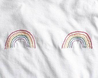 Rainbow Pride Boob Shirt Hand Embroidered Tee Shirt