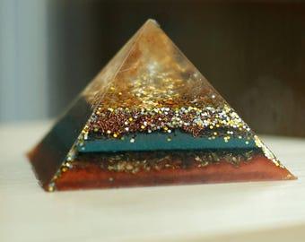 Orgone Pyramid- Tangerine Lemurian Quartz