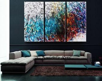 Original Art Acrylic Abstract painting, Contemporary Art, Wall Art,  Modern Art for sale Large modern art Turquoise Art Nandita