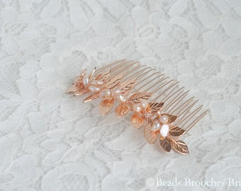 Rose Gold Hair Comb, Leaf Hair Comb Rose Gold, Leaf and Water Pearl Hair Comb, Rose Gold Wedding Hair Comb, Blush Bridal Hair Comb Rose Gold