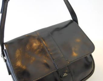 Vintage The Bridge Leather Shoulder Bag in Black Saddle Leather VGC  Saddle Bag Cartridge Bag Hand Made in Florence Italy