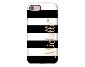 Personalized iPhone 8 case, striped iPhone 8 Plus case, iPhone X case, iPhone 7/7 Plus case, iPhone 6s/6 case, 3D wrap around iPhone case