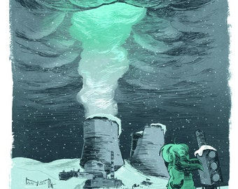 Nuclear Winter, art print, giclee print, power plant, snow, post apocalyptic, clouds, sci fi illustration, cooling towers, wall art, decor