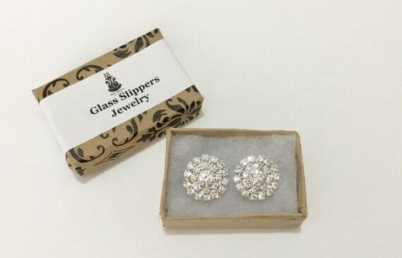 Pixie Dust Clear Bling Crystal Earrings 16mm Round multi-gem Rhinestone Silver Post Minimalist Stud Jewelry