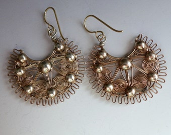 Vintage Philippines Filigree Creolla Silver Gold Plate Earrings