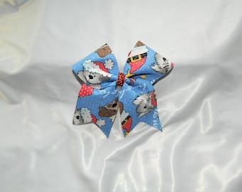 Santa Dogs Piggy Tail Cheer Bow Hair Bow Clip