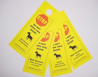 Bull Terrier's Friendly Alternative to 'Beware of Dog' signs