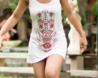 Organic Bamboo Hamsa Top Adult, organic Bamboo Shirt, hand of fatima,Woman top,Yoga top, Yoga shirt,yoga Top, Hamsa clothes,woman gift