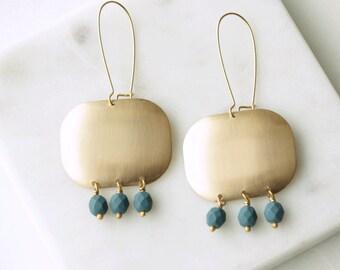 Blue Bead Earrings, Long Chandelier Earrings, Dark Blue, Brass Earrings, Geometric Earrings, Statement Earrings