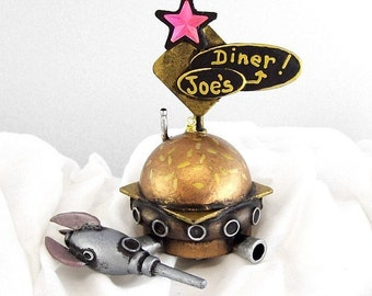 Space Hamburger Shaped Diner Wedding Cake Topper with Rocket Wood