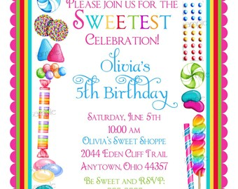 Pink party pretty in pink baby shower party shoppe sweet candy birthday invitations candy sprinkle sweet shoppe sweet shop birthday children girls stopboris Gallery
