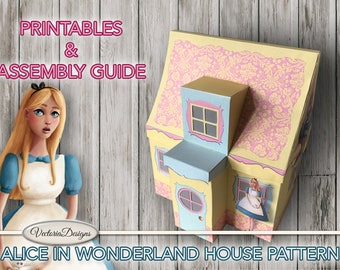Alice in Wonderland House Printable + Tutorial Paper Crafting pattern how to DIY instant download digital download sheets S3I1 - VDHOAL1632