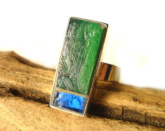 Rectangular glass ring, Handmade mosaic ring, Adjustable, Emerald Green Gold Blue ring, Abstract ring, unique gift for her