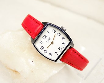 Small Wome's Watch Luch - Women's Wrist Watch - Red Women's Wrist Watch - USSR Watch