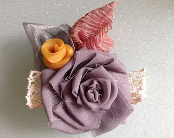 Wedding Summer Beach Retro Rosette Rose Lace Hairpiece Brooch