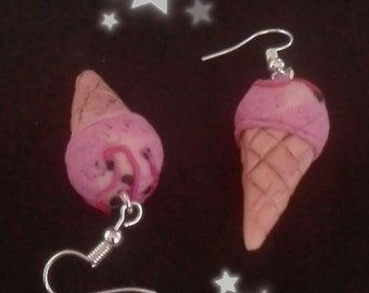 Fimo ice cream cone earrings