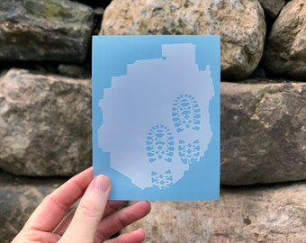 Hiking Boots Adk Silhouette Decal  / Hiking Decal / Mountain Decal / Mountain Sticker / Adk Decal / Adk Sticker / 46er / 6er / Adirondack