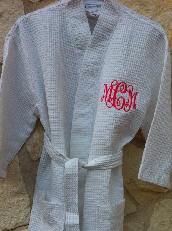 Monogrammed Cotton Waffle Robe / Monogrammed Bridal Robe /