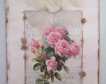 Botanical print, shabby chic wall art, cottage chic wall art
