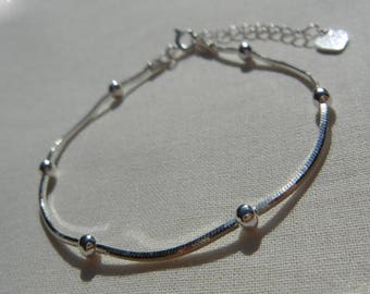 Bracelet chains beaded, serpentine chain, Silver 925/1000th, adjustable length between 16cm and 19cm, silver snake chain bracelet.