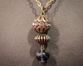 Filigree Vintage Style Necklace - Blue