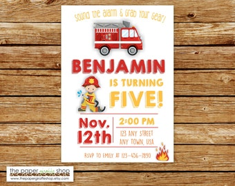 Firefighter Invitation | Firefighter Invitation | Fire Truck Invitation | Fire Truck Birthday Party | Firefighter Party