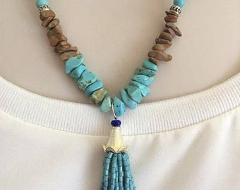 Tassel Necklace,Tassel Necklace and Earring set, Southwestern Necklace, Turquoise Blue Necklace set, Boho Necklace, Gift for her