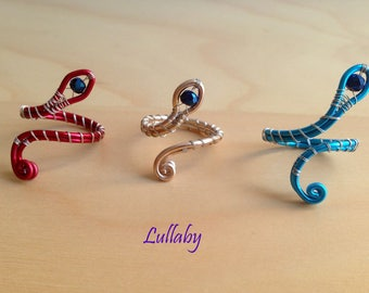 Coiled serpent rings handmade with colorful wire-Colorful twisted snake wire rings