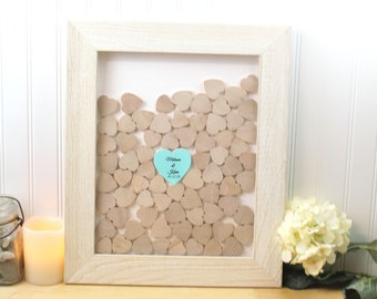 Wedding Guest book frame drop box rustic Guestbook frame with hearts