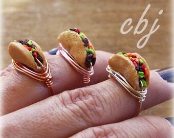Taco Ring, Polymer Clay Taco, Taco Jewelry, Taco Tuesday, Handmade, Wire Wrapped Taco RING