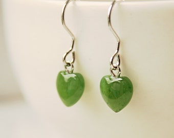 Green Jade Heart Earrings - Sterling Silver - Little Hearts