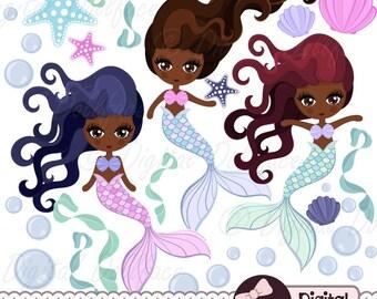 Black Mermaid / African American Art (Clip Art)