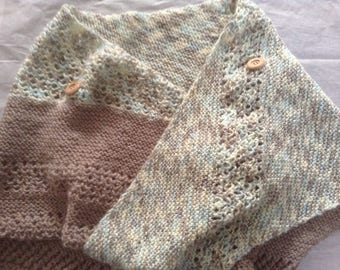 Soft Knitted Scarf/Buttoned cowl/Wrap, 3 choices, Brown/ Cream/Beige