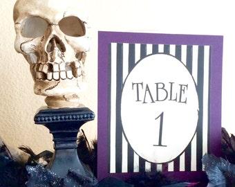 Gothic Stripe Table Number Card Wedding Decor Sign black and white handmade decor Halloween Burton purple