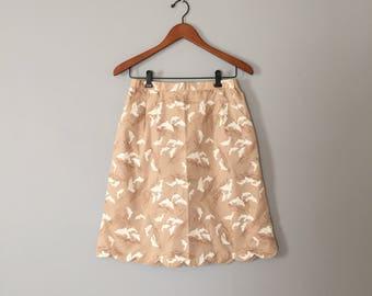 1950s DOLPHIN print skirt | cafe au lait cotton mini skirt | mid century tulip mini skirt